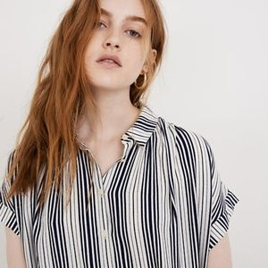 MADEWELL | Central Drapey Shirt, Fairborn Stripe